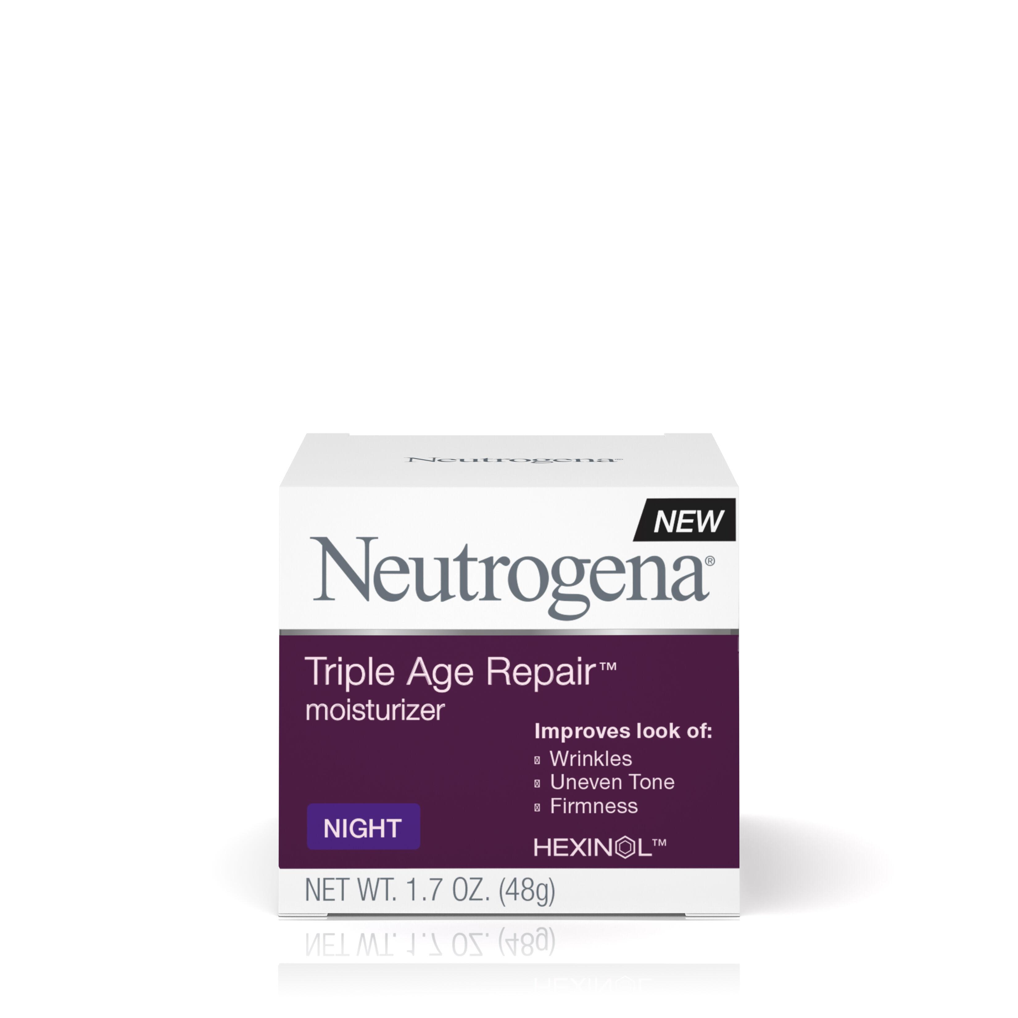 Neutrogena Triple Age Repair Moisturizer Night Cream  - 1.7 Oz, 3 Pack Neck Firming moisturizing lotion - restore the elasticity on your skin (120ml)