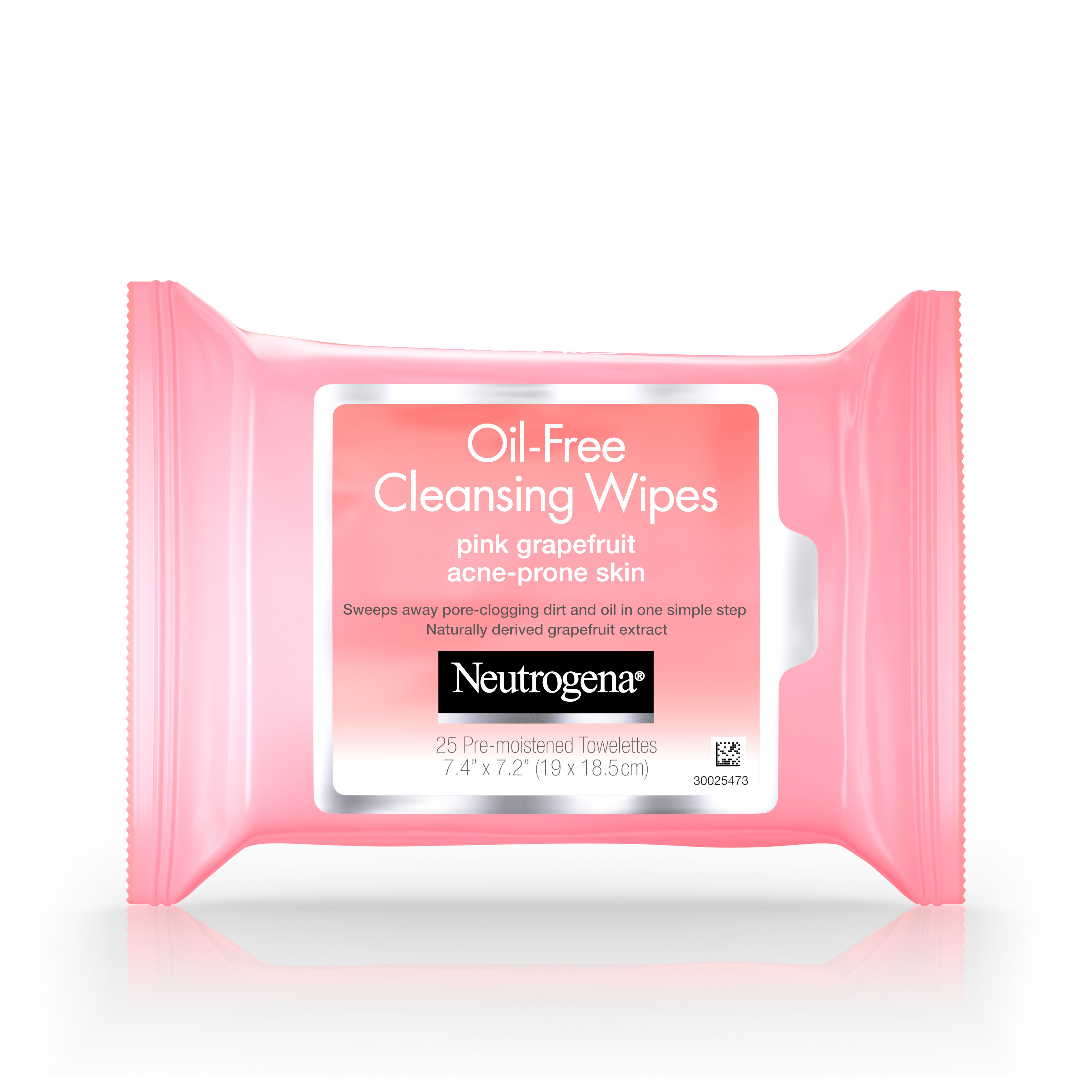 4 Pack - Neutrogena Oil-Free Cleansing Wipes Pink Grapefruit 25 Wipes Each Neutrogena Rapid Clear Acne Defense Face Lotion 1.70 oz (Pack of 6)
